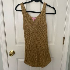 Lilly Pultizer mesh gold tank
